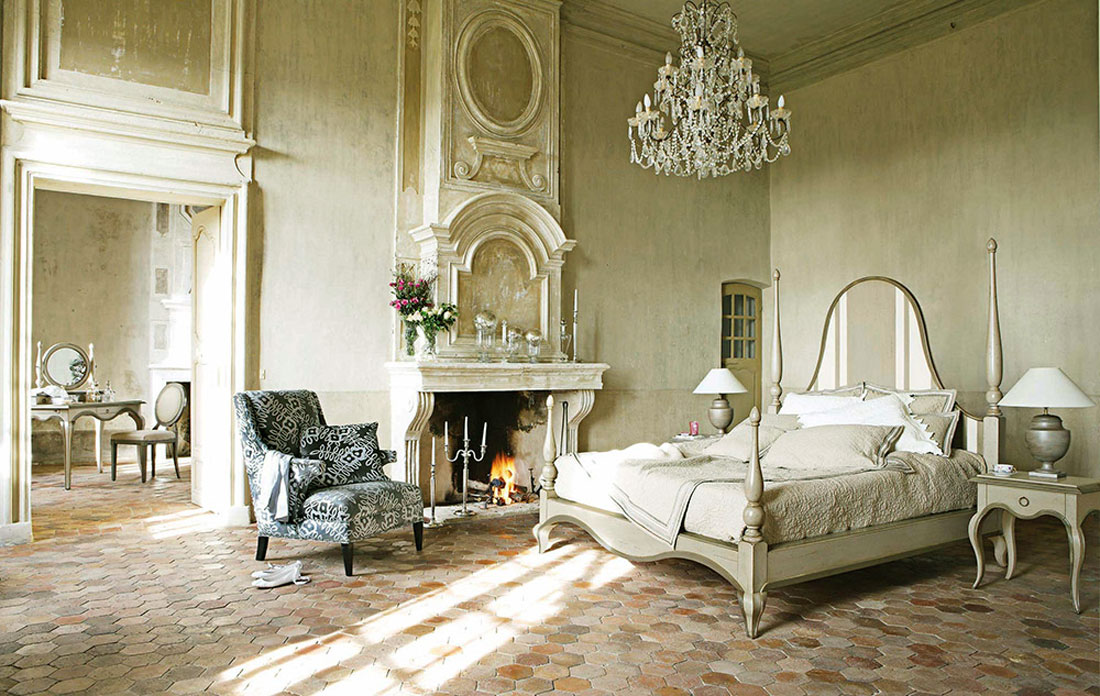 Luxury french bedroom furniture with fireplace ideas for Bedroom furniture decor ideas
