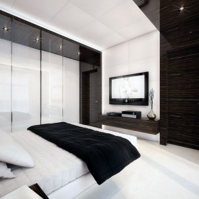 Luxury White and Wood Bedroom with LCD TV