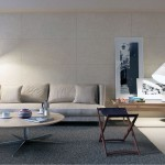 Minimalist Cream Living Room with Grey Rugs