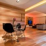 Minimalist Dining Room with Wood Floors