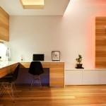 Minimalist Home Office with Wood Floors