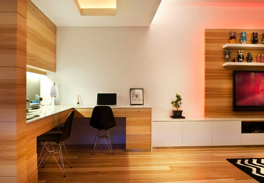 Wooden Office Floors ~ Minimalist home office with wood floors interior design