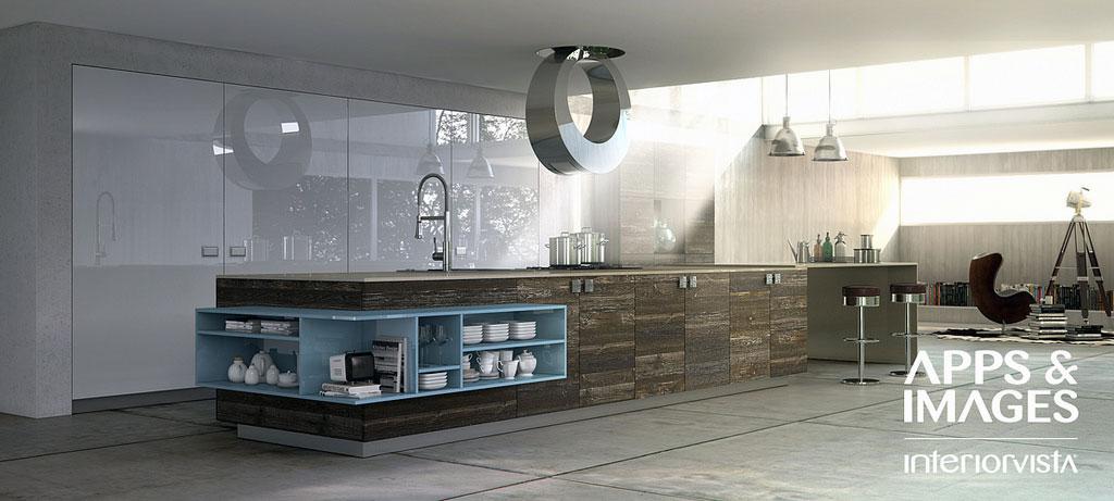 Minimalist Wood Blue White Kitchen Design Interior Design Ideas