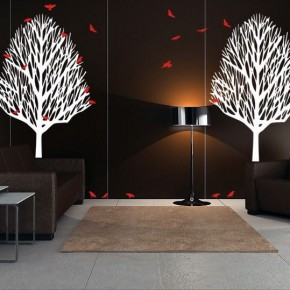 Minimalist Living Room with Trees Birds Wall Decals