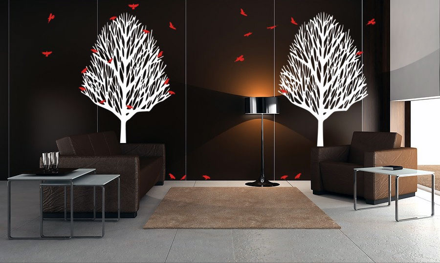 Minimalist living room with trees birds wall decals - Wall sticker ideas for living room ...
