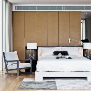 Modern Bedroom With Brown Wall