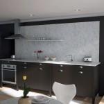 Modern Black Kitchen Marble Back Splash
