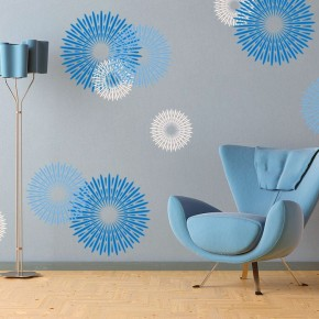 Modern Blue Circular Design Wall Decals Ideas