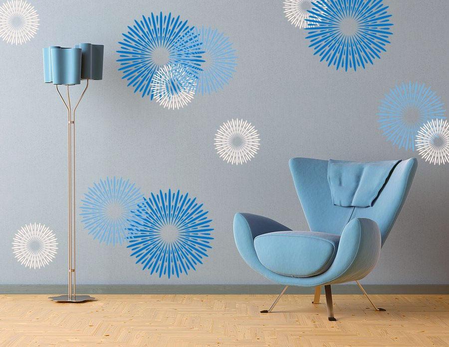 modern blue circular design wall decals ideas interior