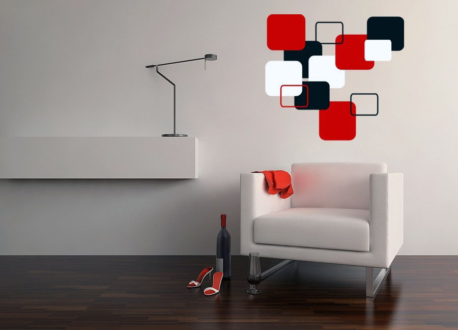 Wall Design Modern : Modern cubist wall decals design interior ideas