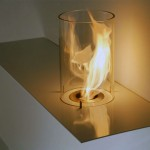 Modern Glass Cylinder Fireplace Design