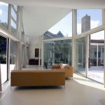 Modern Glass Wall White Living Room
