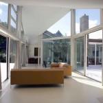 Modern Glass Wall White Living Room