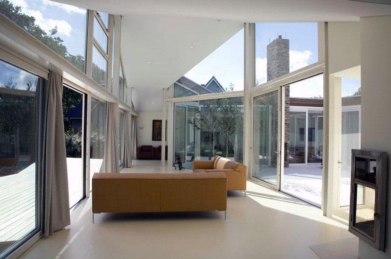 Modern Glass Wall White Living Room - Interior Design Ideas