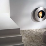 Modern Grey Circular Wall Fireplace