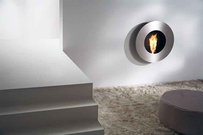 Modern Grey Circular Wall Fireplace