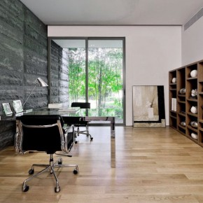 Modern Home Office Interior Stone Wall