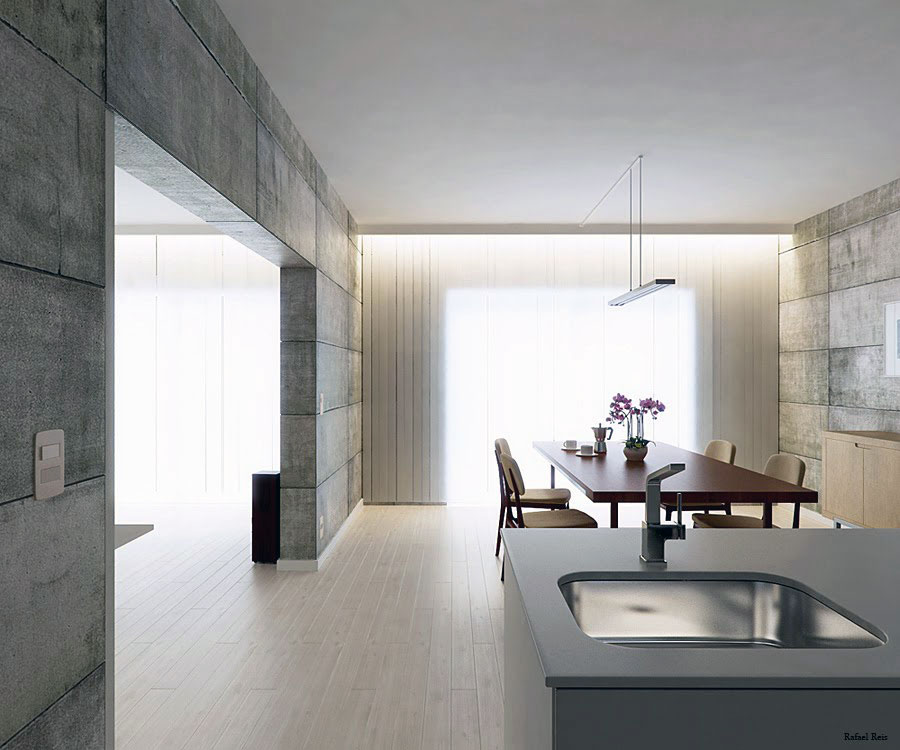 Modern Kitchen and Diner in One Space
