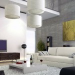 Modern Living Room Concrete Wall Mezzanine Ideas
