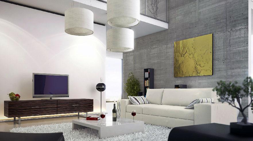 Modern Living Room Concrete Wall Mezzanine Ideas - Interior ...