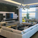 Modern Stone Feature Wall Living Room