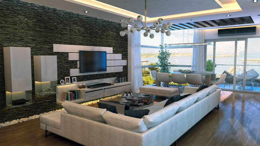 Modern stone feature wall living room interior design ideas Modern living room interior design 2012