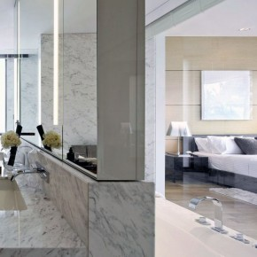 Modern Suite Bedroom with Marble Wall