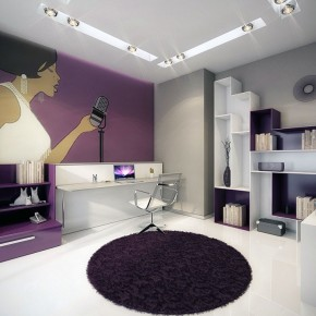 Modern Wall Mural Work Room with Purple and White Color