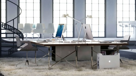Modern White Office Space with Shag Pile Carpet