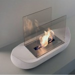 Modern White Sail Boat Shaped Fireplace Design