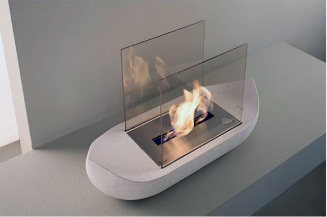 Modern White Sail Boat Shaped Fireplace Design