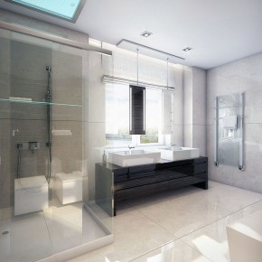 Modern White Walnut Bathroom with Shower Glass Ideas