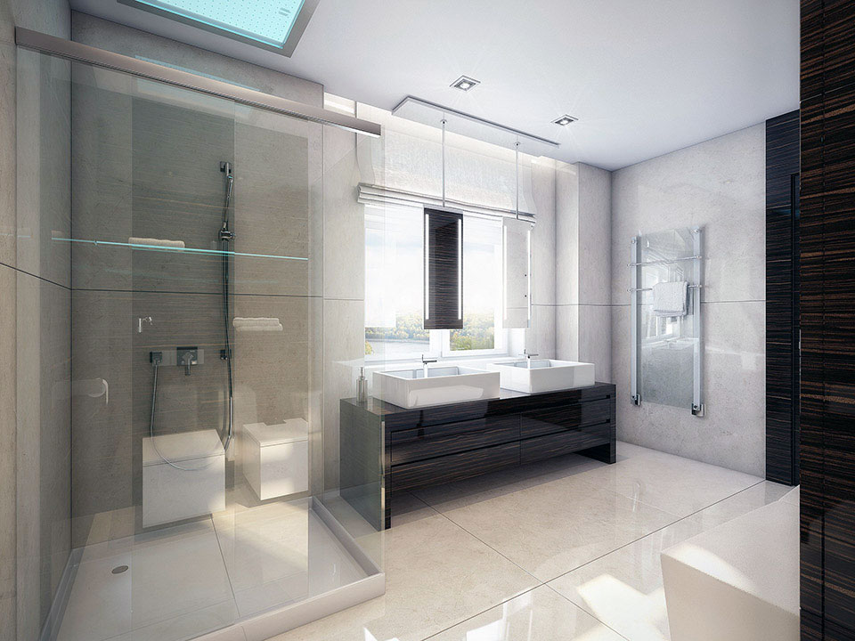 Modern White Walnut Bathroom With Shower Glass Ideas Interior Design Ideas