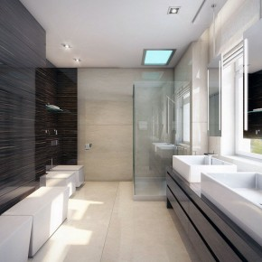 Modern White and Wood Wet Room Design