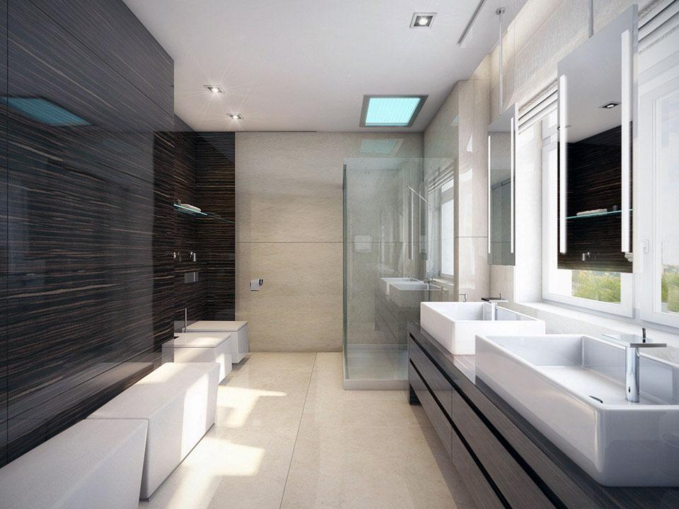 Modern White and Wood Wet Room Design Interior Design Ideas