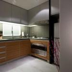 Modern Wood Kitchen with Flower Decoration
