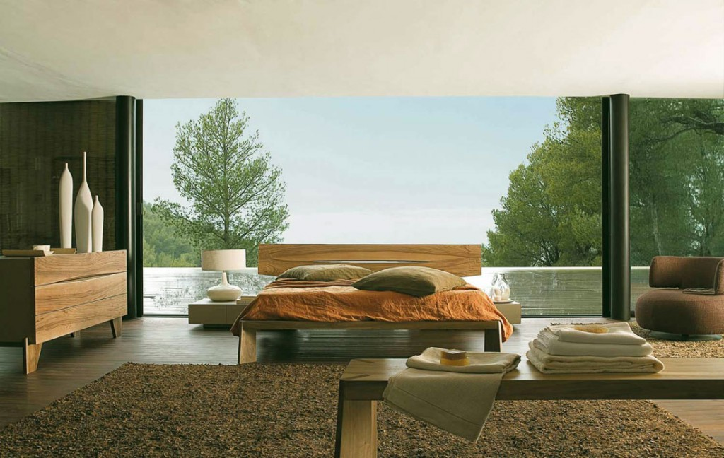 Oak Furniture Bedroom with Glass Wall Decor