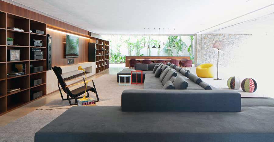 Open Living Room Design Grey Sofas