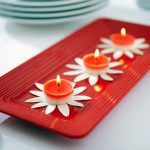 Orange Flameless Candles with Flower Accents