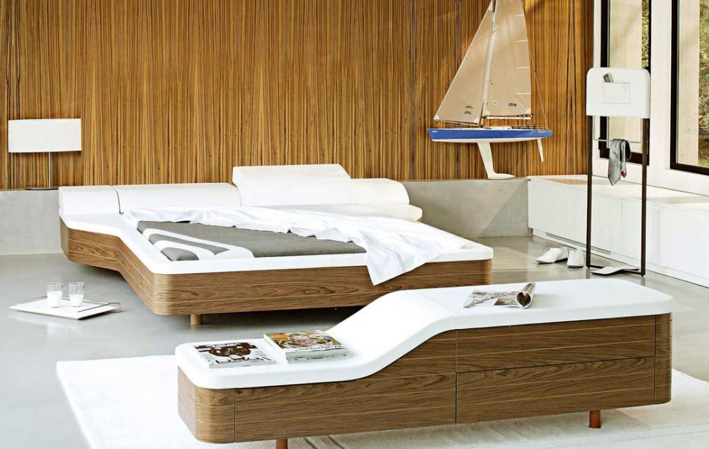 Original Walnut White Unusual Platform Bed Design
