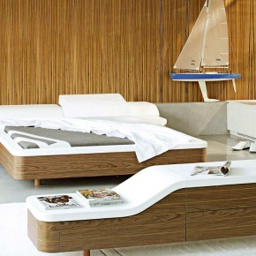 Original Walnut White Unusual Platform Bed Design