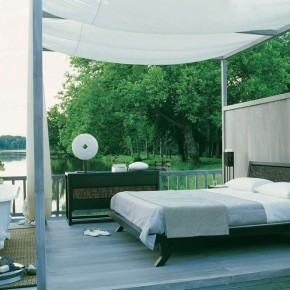 Outdoor Bedroom Design with Lake View