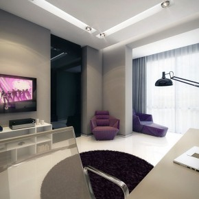 Purple White Entertainment Room with Corner Violet Sofa