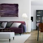 Purple and White Sofa Livingroom