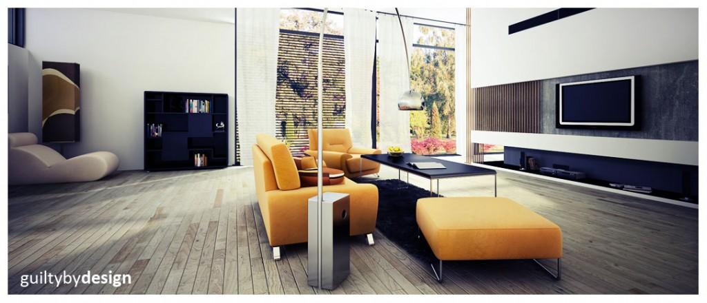 Retro vs modern living room with yellow sofa interior - Living room vs family room ...