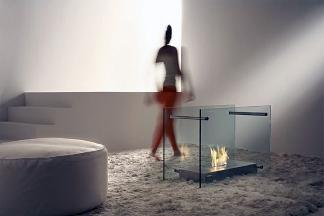 Screen Dual Aspect Glass Fireplace Design