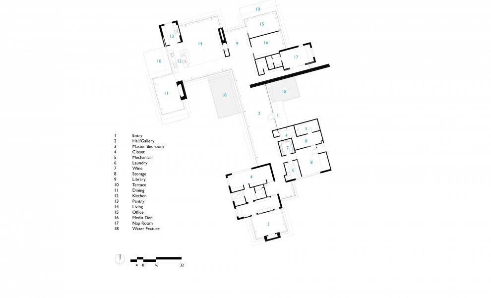 Sketch of Main House Carpinteria Foothills Residence