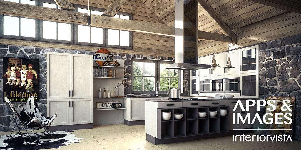 Stunning White Grey Kitchen with Stone Wall Design
