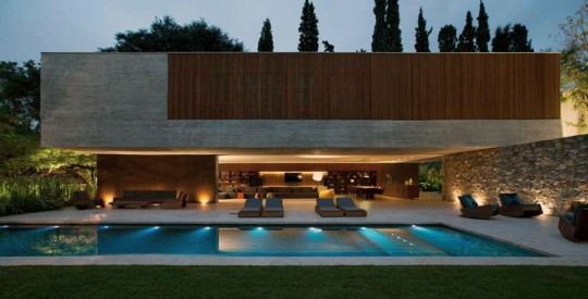 Stunning Open House Design with Amazing Pool Lighting