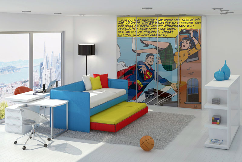 Superman Printing Closet For Kids Bedroom Interior
